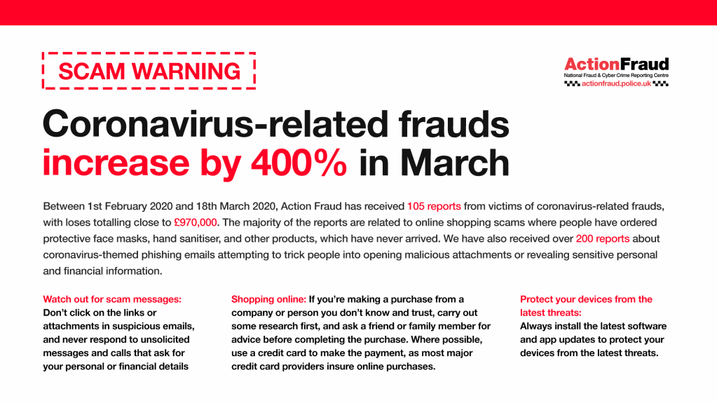 Coronavirus related frauds have increase by 400% in March, totalling loses close to £970,000. The majority relate to online shopping scams where people have ordered products that never arrived.  Don't click on links or attachments in unsolicited emails, research an online company first and always protect your devices with the latest software updates.